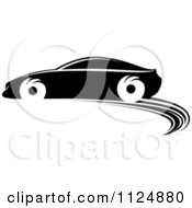 Clipart Of A Black And White Sports Car 2 Royalty Free Vector Illustration