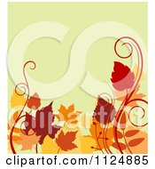 Clipart Of A Background Of Autumn Leaves And Swirls On Yellow Royalty Free Vector Illustration