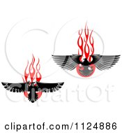 Clipart Of Black Eagles Over Red Flames Royalty Free Vector Illustration