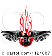 Clipart Of A Black Eagle Over Red Flames 2 Royalty Free Vector Illustration by Seamartini Graphics