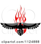 Clipart Of A Black Eagle Over Red Flames 1 Royalty Free Vector Illustration