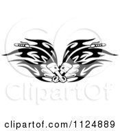 Clipart Of Black And White Piston Tribal Flaming Motorcycle Biker Handlebars Royalty Free Vector Illustration