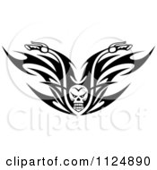 Clipart Of Black And White Skull Tribal Flaming Motorcycle Biker Handlebars Royalty Free Vector Illustration