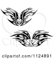 Clipart Of Black And White Skull And Piston Tribal Flaming Motorcycle Biker Handlebars Royalty Free Vector Illustration