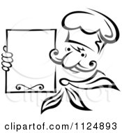 Clipart Of A Black And White Chef Holding A Menu Board Royalty Free Vector Illustration by Seamartini Graphics