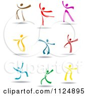Clipart Of Happy Colorful People Dancing And Jumping Royalty Free Vector Illustration by Vector Tradition SM