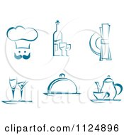 Clipart Of Teal Chef Beverage And Dining Designs Royalty Free Vector Illustration