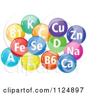 Clipart Of Colorful Pills With Chemical Element Abbreviations Royalty Free Vector Illustration by Seamartini Graphics
