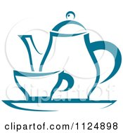 Clipart Of A Teal Tea Pot And Cup On A Tray Royalty Free Vector Illustration