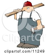 Male Carpenter Man Carrying Plywood And A Hammer