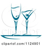 Clipart Of Teal Champagne And Martini Glasses Royalty Free Vector Illustration
