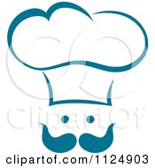 Clipart Of A Teal Chef Face With A Hat And Mustache Royalty Free Vector Illustration by Vector Tradition SM