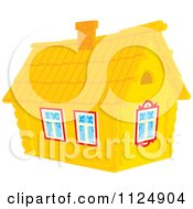 Cartoon Of A Log Cabin Home Royalty Free Vector Clipart by Alex Bannykh
