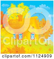 Cartoon Of A Log Cabin With Autumn Leaves Royalty Free Clipart