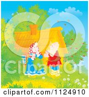 Cartoon Of A Happy Old Couple By Their Log Cabin Royalty Free Clipart by Alex Bannykh