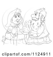 Cartoon Of An Outlined Old Couple Talking Royalty Free Clipart by Alex Bannykh