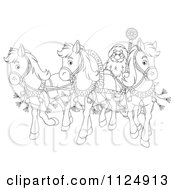Cartoon Of An Outlined Santa In A Sleigh Pulled By Three Ponies Royalty Free Clipart