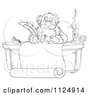 Cartoon Of An Outlined Santa Writing With A Messy Ink Quill Royalty Free Clipart