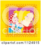Cartoon Of A Cat And Senior Couple Talking In A Window Royalty Free Vector Clipart