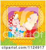 Cartoon Of An Old Couple Talking By Their Cat In A Window Royalty Free Clipart by Alex Bannykh