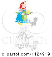 Cartoon Of A Colored And Outlined Woman With A Smiley Face And Cat Royalty Free Clipart