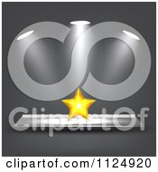 Clipart Of A 3d Golden Star Under Lights Royalty Free Vector Illustration