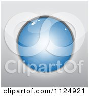 Clipart Of A 3d Reflective Blue Circle Royalty Free Vector Illustration