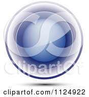 Clipart Of A 3d Reflective Blue Orb Royalty Free Vector Illustration
