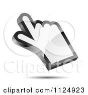 Clipart Of A 3d Reflective White Hand Cursor And Shadow Royalty Free Vector Illustration