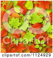 Clipart Of An Autumn Leaf Background Royalty Free Vector Illustration