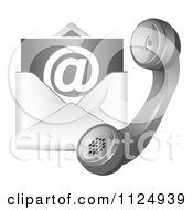 Clipart Of A Contact Icon Of A Telephone And Email Envelope Royalty Free Vector Illustration