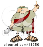 Roman Soldier Holding A Sword