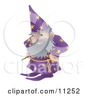 Old Male Wizard With A Magic Standing With His Hands On His Hips Clipart Illustration