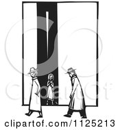 Clipart Of People Passing A Girl In An Alley Black And White Woodcut Royalty Free Vector Illustration