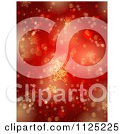 Clipart Of A Background Of Red And Gold Snowflakes And Bokeh Lights Royalty Free Vector Illustration