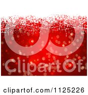 Clipart Of A Background Of Red Snowflakes Bokeh Lights And Grunge Royalty Free Vector Illustration