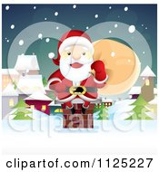 Cartoon Of Santa Sitting On A Chimney On A Snowy Christmas Eve - Royalty Free Vector Clipart by NoahsKnight #COLLC1125227-0064