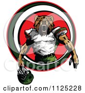 Strong Roaring Football Player Bear Mascot In A Red Circle