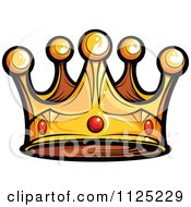 Cartoon Of A Golden King Crown With Ruby Gems Royalty Free Vector Clipart