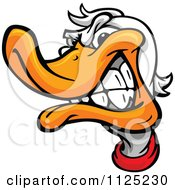 Cartoon Of An Aggressive Duck Mascot Face Royalty Free Vector Clipart