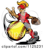 Blond Tomboy Girl Pitching A Softball