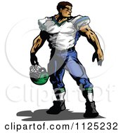 Clipart Of A Strong Muscular Male Football Player Holding His Helmet Royalty Free Vector Illustration