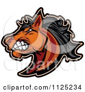 Cartoon Of A Aggressive Brown Mustang Horse Head Royalty Free Vector Clipart