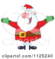 Cartoon Of A Cheerful Santa Holding Up His Arms Royalty Free Vector Clipart by Hit Toon