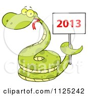 Cartoon Of A Happy Coiled Green Snake Holding A Year 2013 Sign Royalty Free Vector Clipart by Hit Toon