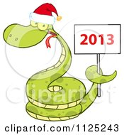 Cartoon Of A Happy Green Snake Wearing A Santa Hat And Holding A Year 2013 Sign Royalty Free Vector Clipart by Hit Toon