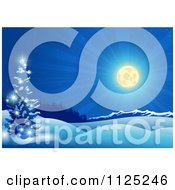 Clipart Of A Shining Full Moon Over A Winter Landscape At Night Royalty Free Vector Illustration