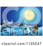Clipart Of A Christmas Snowman With A Sled And Gifts Near A Cabin Under A Full Moon Royalty Free Vector Illustration