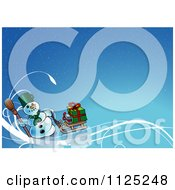 Clipart Of A Christmas Snowman With A Sled And Gifts On Blue Royalty Free Vector Illustration