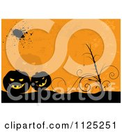 Clipart Of A Grungy Orange Halloween Jackolantern Pumpkin Background Royalty Free Vector Illustration